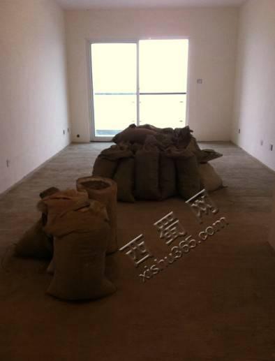 客厅中间的袋子里装的是碳渣,填卫生间用的