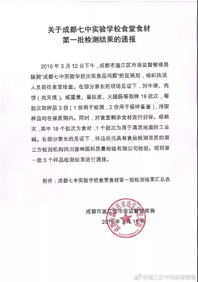 【通报】成都食品安全事件:温江区教育局局长,区市场监督管理局副局长